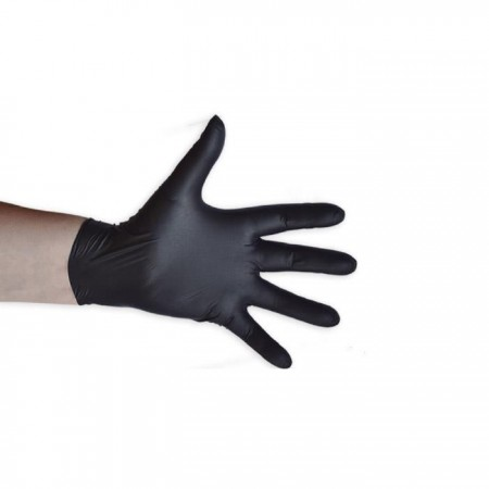 Boite 100 gants noirs nitrile taille S 6/7 - 5 Microns